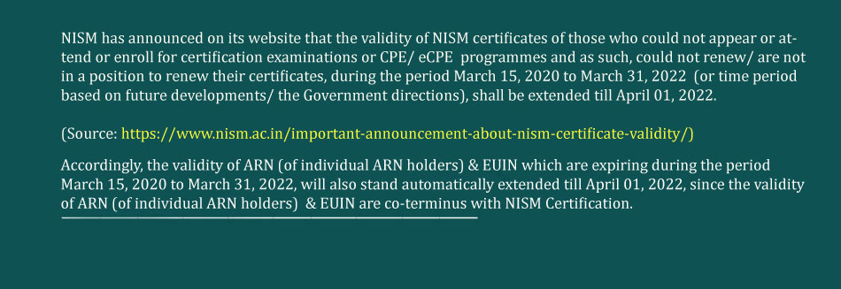 Extension of validity of NISM certificates till September 30, 2020